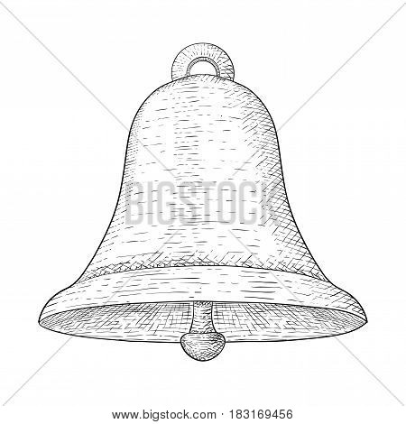 Bell. Hand drawn sketch. Vector illustration isolated on white background