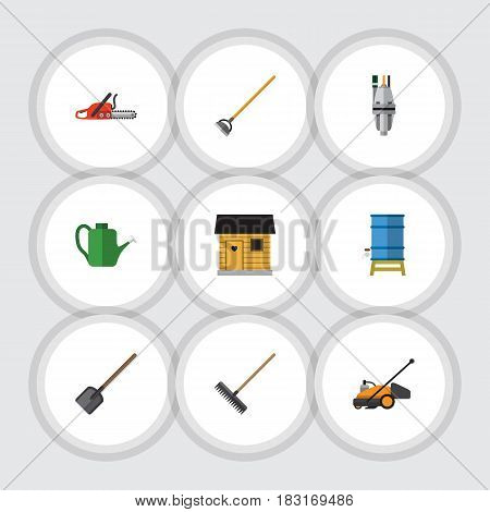 Flat Farm Set Of Bailer, Lawn Mower, Container And Other Vector Objects. Also Includes Barn, Blade, Shovel Elements.