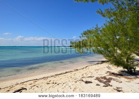 Sand La Herradura beach and turquoise water on the wild coast of Cuba