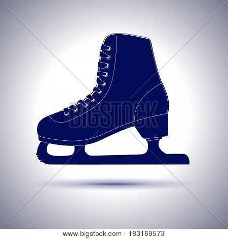 Ice Skate. Blue icon with shadow. Vector illustration
