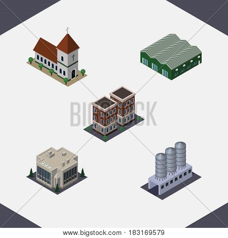 Isometric Architecture Set Of Chapel, Warehouse, Water Storage And Other Vector Objects. Also Includes Church, Warehouse, House Elements.