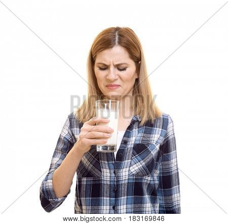 Woman with milk allergy on white background