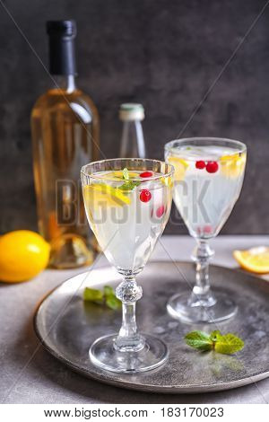 Refreshing cocktails with cranberry and lemon on table