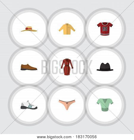 Flat Clothes Set Of Sneakers, Lingerie, Clothes And Other Vector Objects. Also Includes Shoe, Footware, Fedora Elements.