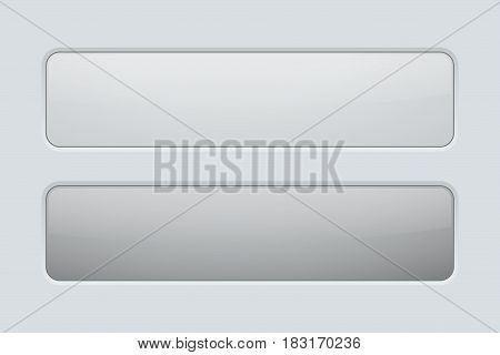 Rectangle button. Gray user interface icons. Normal and pushed. Vector illustration