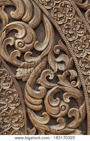 Thai art of carved wooden for background