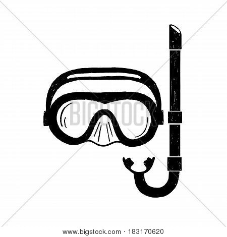 Hand drawn textured snorkeling mask vector illustration.