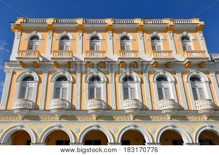 Facade of the colonial building by the Serafin Sanchez square in the Sancti Spiritus town on Cuba