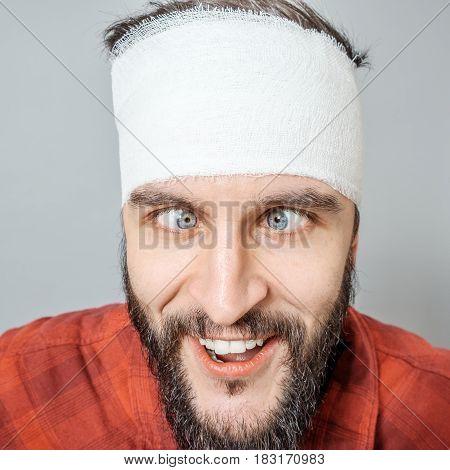 Portrait Of Man Bandaged Up