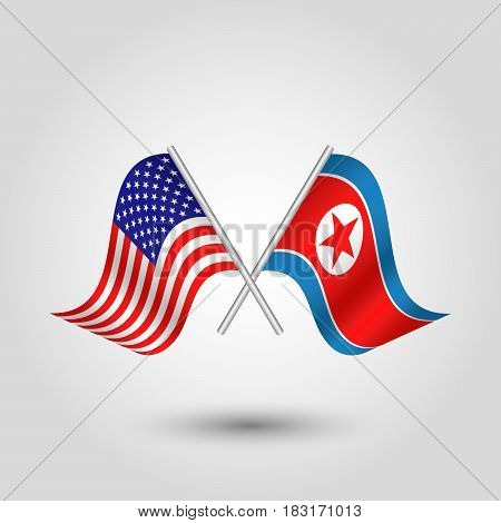 vector waving simple triangle two crossed american and korean flags on slanted silver pole - icon of united states of america and north korea