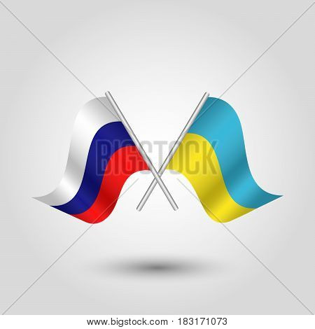 vector waving simple triangle two crossed ukrainian and russian flags on slanted silver pole - icon of ukraine and russia