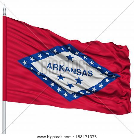 Isolated Arkansas Flag on Flagpole, USA state, Flying in the Wind, Isolated on White Background