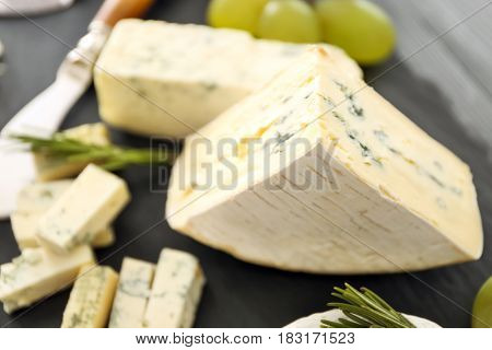 Delicious sliced blue cheese, closeup