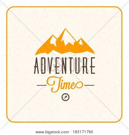 Summer holidays camping poster. Mountain adventures and outdoor activities label. Vector illustration with yellow and brown colors on textured background