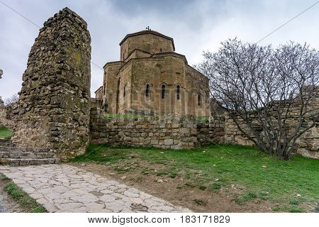 MTSKHETA, GEORGIA - APRIL 03, 2017: View indoors and outdoors of  Jvari Monastery is a sixth century Georgian Orthodox monastery near Mtskheta, eastern Georgia.It is listed as a World Heritage site by UNESCO.