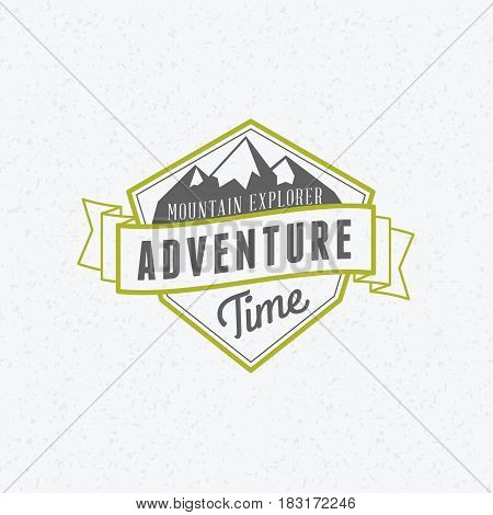 Summer holidays camping poster. Mountain adventures and outdoor activities label. Vector illustration with green and gray colors on textured background
