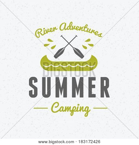 Summer holidays camping poster. River adventures and outdoor activities label. Vector illustration with green and gray colors on textured background