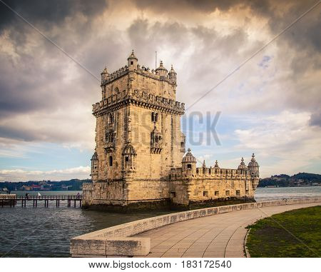 Dark stormy clouds above the Belem tower Lisbon
