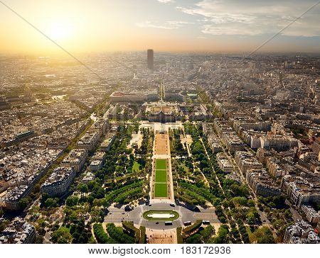 Aerial view of Paris on Champs de Mars and Tour Montparnasse from the Eiffel Tower at sunset, France