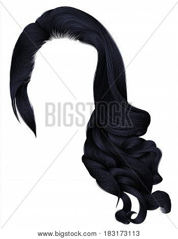 woman trendy long curly hairs wig brunette black  dark colors . retro style . beauty fashion . realistic 3d .