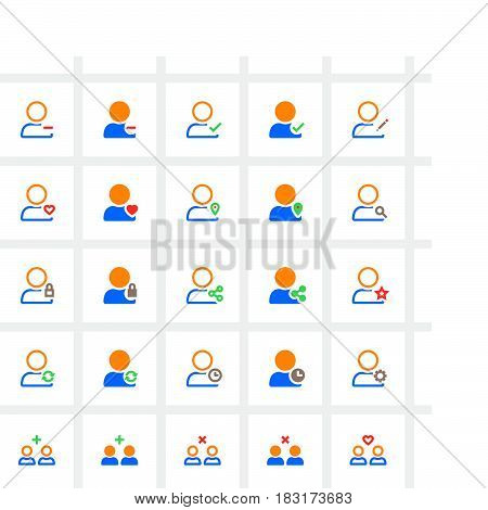User Account Line And Full Icons Set, Outline And Solid Vector Symbol Collection, Linear Pictogram P
