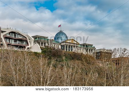 TBILISI, GEORGIA - APRIL 04, 2017: The Presidential Administration of Georgia is the executive body of administration of President of Georgia. The construction commenced in 2004
