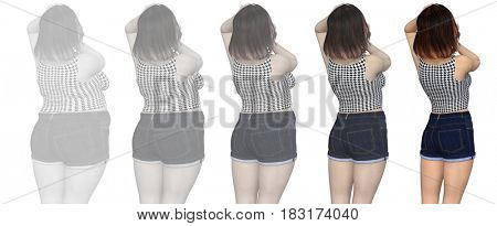 Conceptual fat overweight obese female vs slim fit healthy body after weight loss or diet with muscles thin young woman isolated. A fitness, nutrition or fatness obesity, health shape 3D illustration
