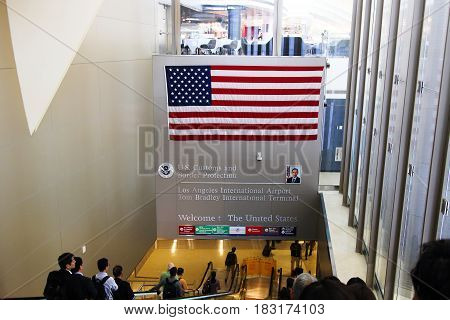 Los Angeles - USA October 08, 2016: Welcome To United States of America sign at LAX. It is the main airport in California.