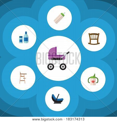 Flat Infant Set Of Pram, Child Chair, Nursing Bottle And Other Vector Objects. Also Includes Cradle, Stroller, Baby Elements.