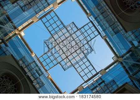 Creative glass roof of modern business building. September 2011 Ukraine Kiev Podol. Business center before reconstruction.