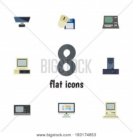 Flat Computer Set Of Technology, Computer Mouse, Computer And Other Vector Objects. Also Includes PC, Retro, Mouse Elements.