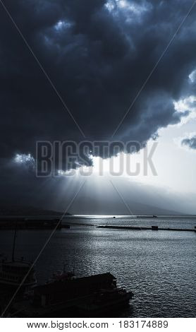 Dark Dramatic Sky With Clouds And Sunlight