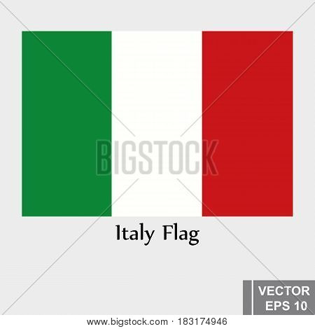 Vector Flag Of Italy. Icon Isolated On White Background.
