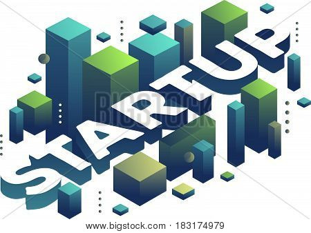 Vector illustration of three dimensional word startup with abstract green and blue shapes on white background. Startup business technology concept. 3d style design for web, site, banner, presentation
