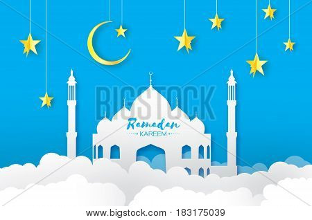 Ramadan Kareem. Arabic white Mosque, clouds, gold stars in paper cut style. Crescent Moon. Holy month of muslim. Symbol of Islam. Origami Greeting card. Blue background. Vector
