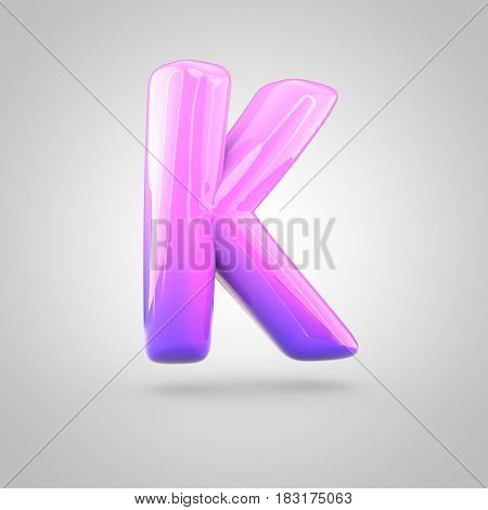Glossy Pink And Violet Gradient Paint Alphabet Letter K Uppercase Isolated On White Background