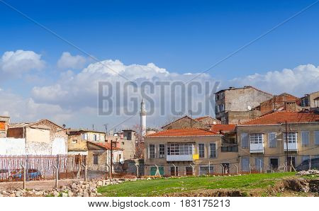 Street View Of Old Izmir, Turkey. Living Houses
