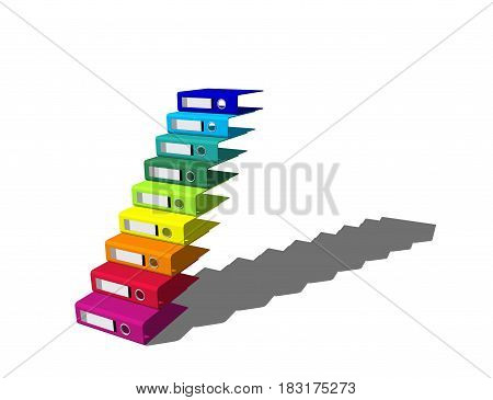 Empty colorful file folders. Isolated on white background. Stairway from file folders. 3D rendering illustration.