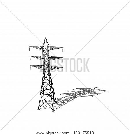 Power transmission tower. Isolated on white background. 3D rendering illustration. Cartoon style.