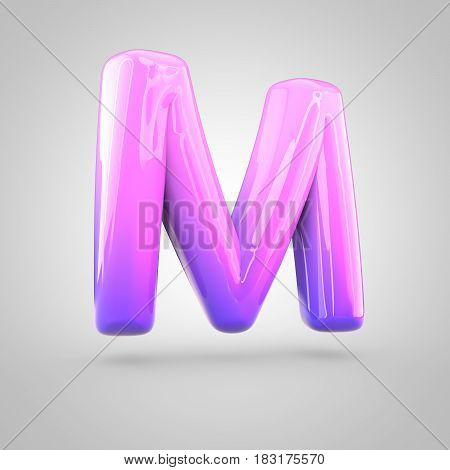 Glossy Pink And Violet Gradient Paint Alphabet Letter M Uppercase Isolated On White Background