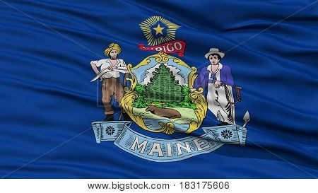Closeup Maine Flag on Flagpole, USA state, Waving in the Wind, High Resolution