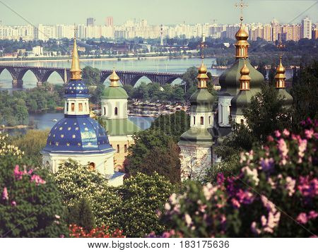 Ukraine. Kiev. General view of the Monasteru at Vydubychi (11h - 18th cc.)