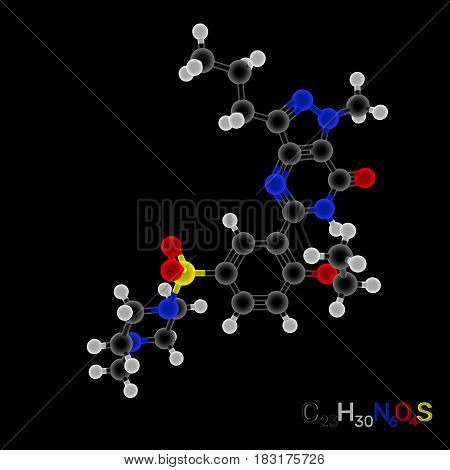 Viagra model molecule. Isolated on black background. 3D rendering illustration. Luminance effect.