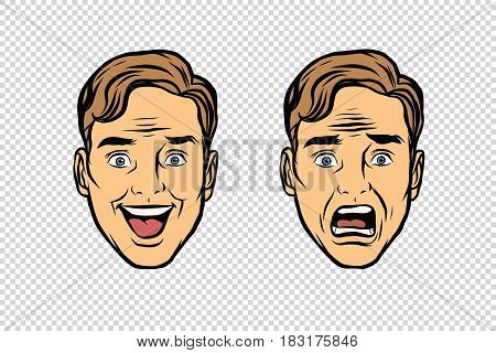 Two men face the emotions of fear and joy. Pop art retro vector illustration