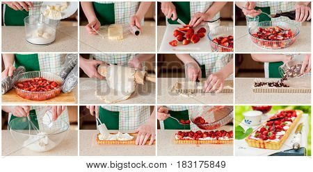 A Step By Step Collage Of Making Strawberry And Curd Tart