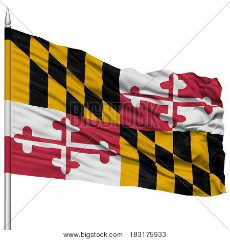 Isolated Maryland Flag on Flagpole, USA state, Flying in the Wind, Isolated on White Background