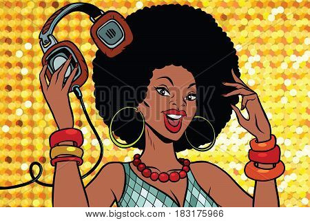 African American woman DJ with headphones. Audio and music. Pop art retro vector illustration