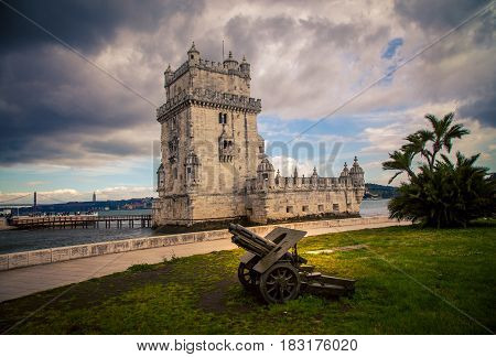 Old cannon in Belem Lisbon in  portugal