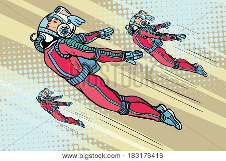 Girl superhero flying in a futuristic space suit. Pop art retro vector illustration