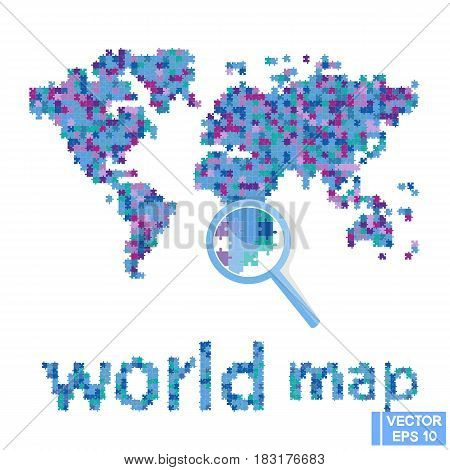 World Map. Continents From Puzzles